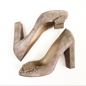 J. Crew suede bow heels